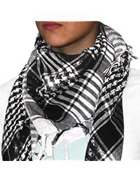 niki-orange® Pali Schal, Tuch, Palästinenserschal, Arafat, in Schwarz/Weiß/Silber