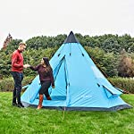 SAFACUS Teepee Tent for Adults 5-6 Person Family Camping Tent, Two doors with Double layer Party Tipi Tent,12' x 12' Tower Post Bell Tent for Family Vacation 12