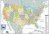 USA carte politique–Papier plastifié–A0Taille 84.1x 118.9cm...