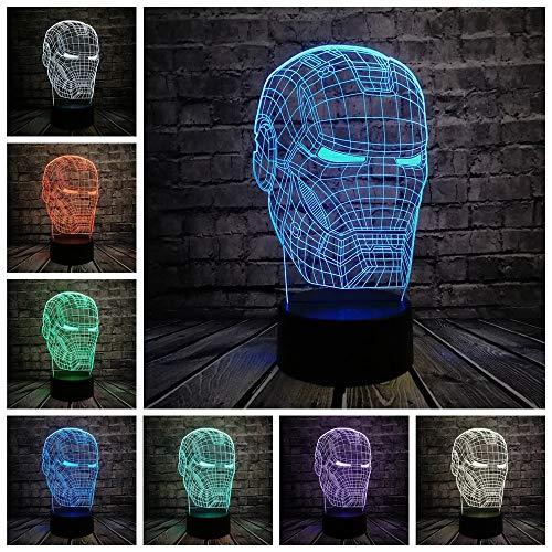 on Man Maske LED Nachtlicht Superheld Film Figur Neuheit Illusion Kreative Kinder Spielzeug Jungen USB Geschenk ()