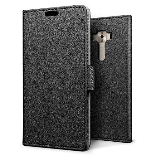SLEO Asus ZenFone 3 Deluxe (ZS550KL) Hülle, PU Leder Case Tasche Schutzhülle Flip Case Wallet im Bookstyle für Asus ZenFone 3 Deluxe (ZS550KL) Cover - Schwarz