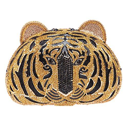 Bonjanvye Glitter Studded Tiger Head Purse for Women Shining Rhinestone Clutch Evening Bag Silver black