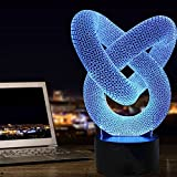 3D Optical Illusion Night Light, Ticent Heart Knot Modern Bedside Mood Lamp, 7 Color Changing LED Lights Perfect Gifts for Baby, Kids, Adults, Girls, Boys, Teens, Nursery, Rooms Bedrooms Decoration Li