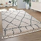 Paco Home Salon Tapis Shaggy Poils Longs Moderne Motif À Losanges Carreaux Crème Bleu, Dimension:160x230 cm...