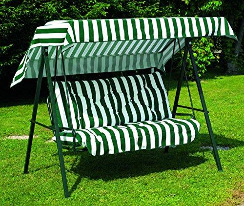Ideapiu Balancelle de Jardin, Bascule avec imbottituracon revêtement Rayures Vertes et Blanches, balancelle 3 Places, Bascule