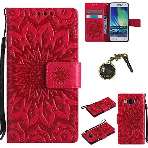 Preisvergleich Produktbild für Smartphone Samsung Galaxy A3 (2015) Hülle,Echt Leder Tasche für Samsung Galaxy A3 (2015) Flip Cover Handyhülle Bookstyle mit Magnet Kartenfächer Standfunktion + Staubstecker (7FF)
