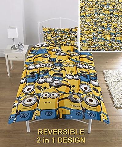 OFFICIAL Despicable Me Minions Single Duvet/Quilt Cover Bed Set Kids Bedding Set Childrens Boys Girls (Single, Minions