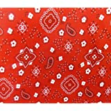 Poly Cotton Print Bandana on Red Background 60 Fabric By the Yard by The Fabric Exchange