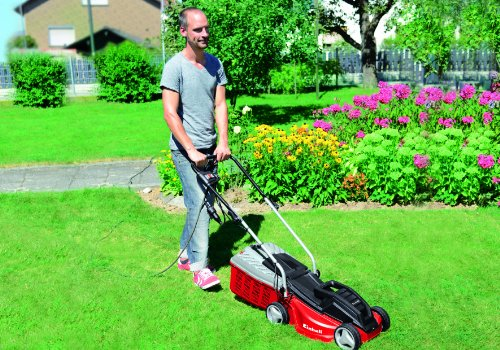 The Einhell GE-EM 1233 Mower includes a carbon powered motor with a high torque for an efficient performance and is 1250W with a 33cm cutting width. It has an adjustable height setting that ranges from 20mm – 60mm and also includes a 30L grass collection box.