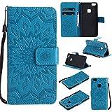 BoxTii Coque Huawei P10 Lite, Etui en Cuir de Première Qualité [avec Gratuit Protection D'écran en Verre Trempé], Housse Coque pour Huawei P10 Lite (#6 Bleu)
