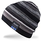 Rotibox Wireless Bluetooth Beanie Hut Cap Striped Pom Pom mit Kopfhörer Headsets...