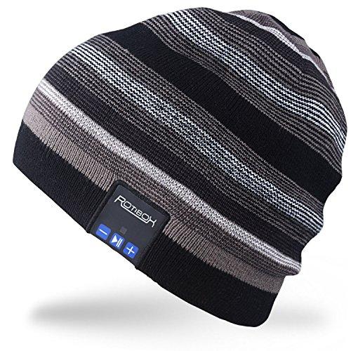 Gym Hut (Rotibox Wireless Bluetooth Beanie Hut Cap Striped Pom Pom mit Kopfhörer Headsets Kopfhörer Lautsprecher Freisprechen Call for Gym Outdoor Sport Skifahren Running Skating Walking, Weihnachtsgeschenke - Schwarz)