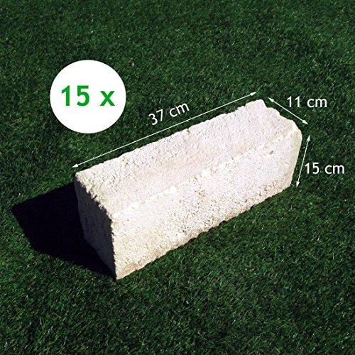 15 Mattoni di tufo chiaro 37x15x11cm blocchi per ornamento aiuole e giardino