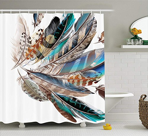 Soefipok Feather House Decor Duschvorhang, Vaned Typen und Natal Contour Flugfedern Tierhaut Element Print, Stoff Badezimmer Dekor Set mit Haken, Teal Brown -