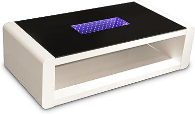 CAVADORE Couchtisch Hutch/moderner, Niedriger Tisch Mit Schwarzem Glas Und  3D LED