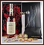 Geschenk Oban 14 Jahre Single Malt Whisky + Flaschenportionierer + 10 Edel Schokoladen von DreiMeister/DaJa + 4 Whisky Fudge, kostenloser Versand