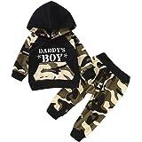 Jimmackey Neonato Striscia Incappucciato Pagliaccetto Manica Lunga Tutine Body + Camouflage Pantaloni Bambino Completini
