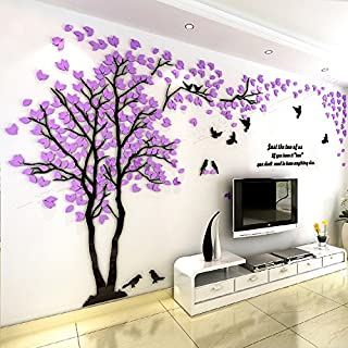 Hokly Clearance/3D Couple Tree Wall Stickers, Large Removable Plant Tree Home Wall Decal (Purple (Left))