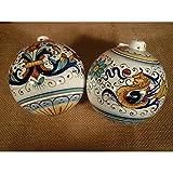 Palla di Natale artigianale in ceramica di Deruta fatta a mano 6 cm