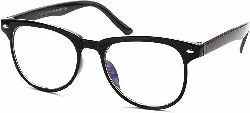 Stacle UV Protected Rectangular Spectacle Sunglasses For Men and Women (ST7136|49|Shine Black Frame/Transparent Lens)