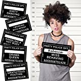 Hen Party Mug Shot Photo Props- 24 x Hilarious Offences on A5 Cards -Personalise With Offenders Name- Ideal Photobooth Prop For Hen Party, Bridal Shower, Wedding Party, Girls Night Out, Office Party.