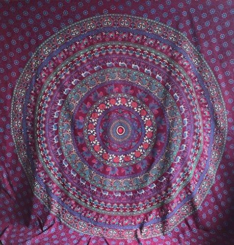 """Único rojo vino granate Umrao Hippie Mandala tapiz indio colgante de pared colcha Bohemian Gypsy manta de flores de dormitorio Deco 100% algodón doble 80""""X 54"""""""