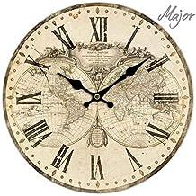 OROLOGIO PARETE MAPPAMONDO VINTAGE RETRO COUNTRY STYLE CLOCK GLOBE