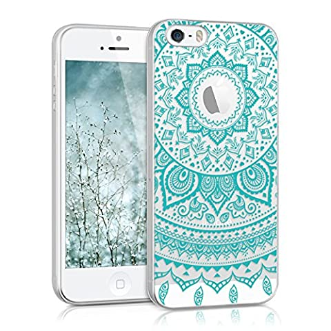 kwmobile Hülle für Apple iPhone SE / 5 / 5S - TPU Silikon Backcover Case Handy Schutzhülle - Cover klar Indische Sonne Design Mintgrün