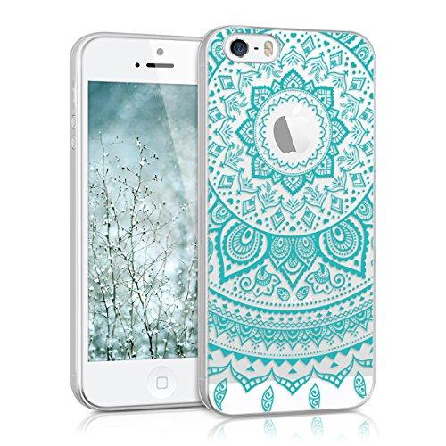 kwmobile Crystal Case Hülle für > Apple iPhone SE / 5 / 5S < aus TPU Silikon mit Indische Sonne Design - Schutzhülle Cover klar in Mintgrün Transparent