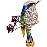 Clest F&H Branch Flower Bird Brooch Pin Rhinestones Clothing Jewelry