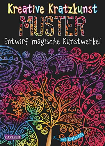 Kreative Kratzkunst: Muster: Set mit 10 Kratzbildern, Anleitungsbuch und Holzstift -