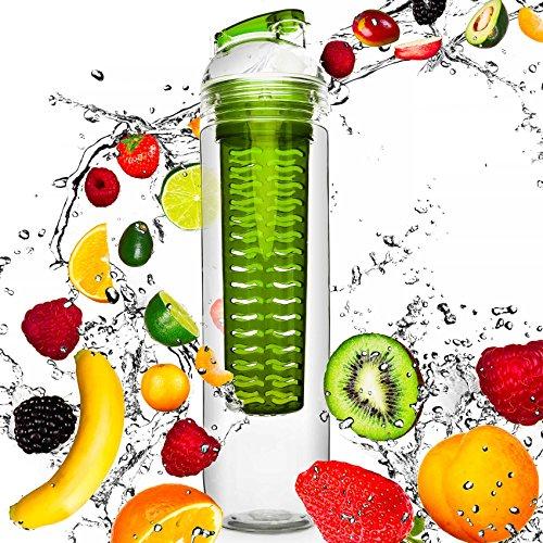 Trinkflasche mit Früchtekorb , Volumen : 800ml - Material : Tritan (BPA-frei) , Wasserflasche / Sportflasche für Fruchtschorlen / Gemüseschorlen - 100{77f8a5c4e0f5d79d736de95a1bb7003a319cbba04a97dce01419535c28e25908} Auslaufsicher - Spülmaschinen geeignet grün