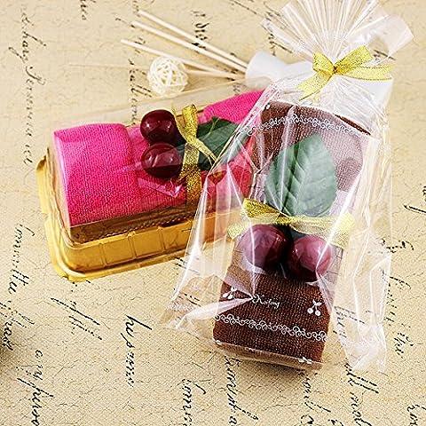 EQLEF® 2 Sets Fruit Cherry Swiss Roll Towel GiftsBoxed Cake Shaped Washcloth Fake Dessert Decor (Tovagliolo Di Mano Washcloth)