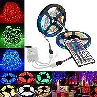 LED Strip Lights, 32.8ft 10M 3528 SMD RGB 600 Color Changing Light String Tape+44 Key IR Remote Control Kit 5050 LED Lights, Strip Light SMD 12V 5A Power for car, Home, bar TV Back Lighting Kit