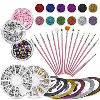 37 Stück Kunst Nägel Set - 15PCS Nagel Pinsel + 12 Topf Mini Caviar Perlen + 6 Zierstreifen Striping Tape + 1 Nagel Steine+ 3 Töpfe Glitzer, Professional Nagel Zubehör von Phogary