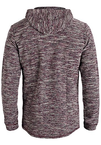 INDICODE Case Herren Kapuzenpullover Hoodie Sweatshirt aus hochwertiger Baumwollmischung Meliert Bordeaux Mix (201)
