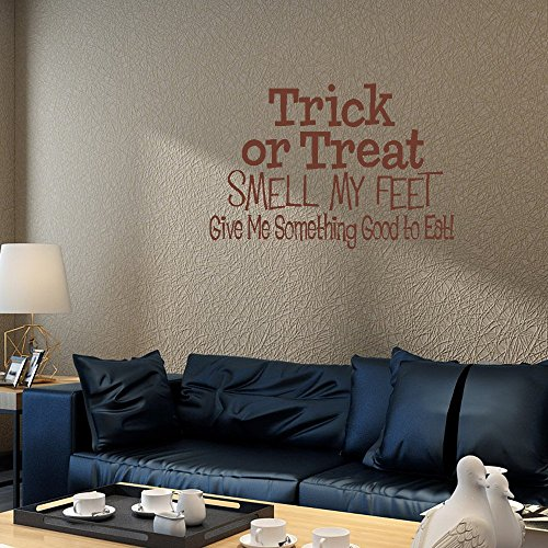 wandaufkleber 3d schlafzimmer 24X14 Trick Or Treat Smell My Feet Give Me Something Good To Eat Halloween Song Candy Wall Decal Sticker Art Mural Home Decor Quote For Bedroom Living Room