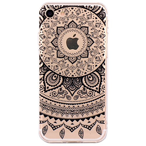 Cover iPhone 7, JIAXIUFEN TPU Gel Protettivo Skin Custodia Protettiva Shell Case Cover Per iPhone 7 (2016) - Black Circle Flower Tribal Mandala
