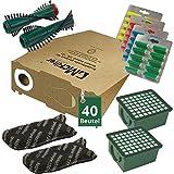 AVR-Handel 86pièces économie d'Annonce 40sacs aspirateur Kit filtre Brosses et parfum pour Vorwerk Kobold VK 130, VK 131et 131SC avec Eb 350/351