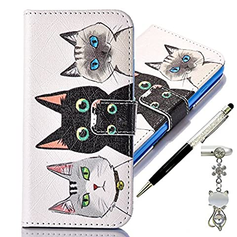 Apple iPod Touch 6 / 5 Generation Case, Alfort 3 in 1 Fashion Design Dual-Use Flip Phone Case Cover Fold Premium PU Leather Book Wallet Style Case Stand Cover & Screen Protector Support Function for Apple iPod Touch 6 / 5 Image Three Cats ( White ) + Cute Crystal Dust Plug + Crystal Stylus