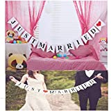 JZK® 'Just married' Festone striscione banner decorazioni per matrimonio o foto puntelli per fotografia di matrimonio, bandierine, photo booth, con nastro