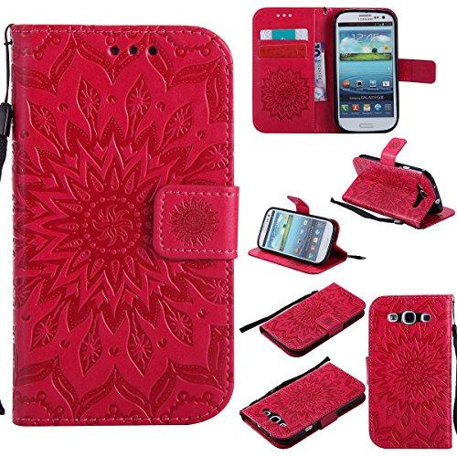Kompatibel mit Galaxy S3 Hülle,Galaxy S3 Neo Hülle,Prägung Mandala Blumen Sonnenblume PU Lederhülle Flip Hülle Cover Schale Ständer Etui Wallet Tasche Case Schutzhülle für Galaxy S3 / S3 Neo,Rot