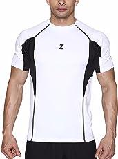 Azani Men's Sub-Zero Tech Short Sleeve Workout Fitness Sports Gym Wear White Black T-Shirt