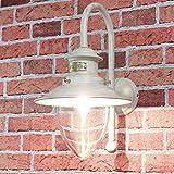 Außenwandleuchte aus Messing in Weiß Gold Handarbeit Maritim Shabby Glasschirm Außenleuchte Wandlampe Haus