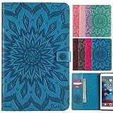 LEMORRY Apple iPad Air 2/iPad 6 Hülle Tasche Ledertasche Beutel Slim Schutz Magnetisch SchutzHülle mit Kartenschlitz Weich Silikon Cover Schale für iPad Air 2 (iPad 6), Blühen (Blau)