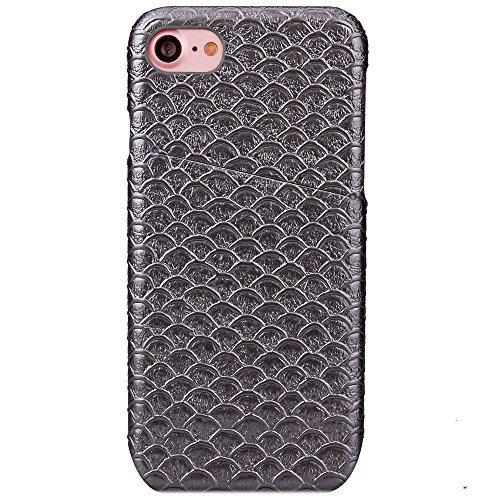 iPhone Case Cover Solid Color Scale Pattern Hard Cover Zurück mit Card Slot für IPhone 7 ( Color : Gray , Size : IPhone 7 ) Gray