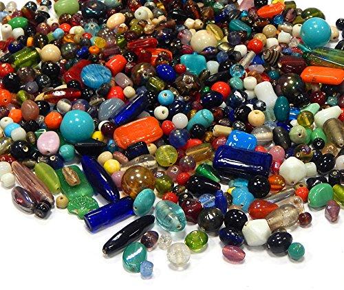 250g Glasperlen Mix Kit Indian Glas Perlen zum Fädeln Silberfolie Lampwork Feuerpoliert Rund Kugel Bunt Perlenset Bastelset Für Schmuck zur Schmuckherstellung von Halsketten Armband DIY Design (250)