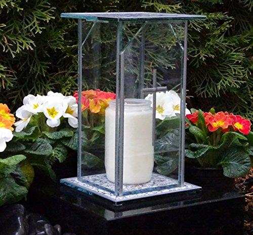 ♥ Design Grablaterne Grablampe 22,0cm incl. Grabkerze Grabschmuck Grableuchte Laterne Kerze Lampe - Design Lampe Kerze