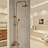 NIHE Altmessing Badezimmer mit Dusche und regen langlebiges Messing Duscharmatur