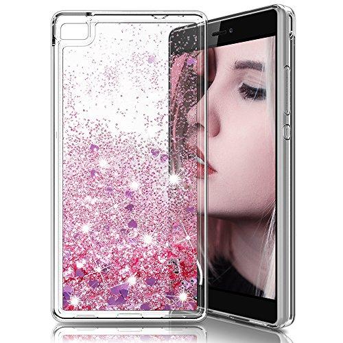 Huawei p8 custodia,lk [sottile] 3d glitter liquido brillantini lucido cuore scintillante carino lusso creativo scintillante cristallo cover silicone protettiva telefono custodia di bling di flusso cover per huawei p8 - oro rosa